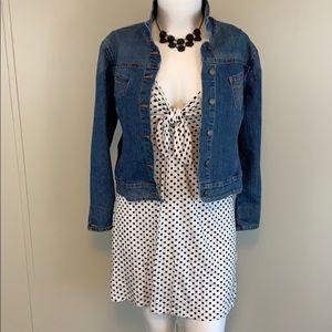 Plus Size Polka Dot Tie Front Mini Dress